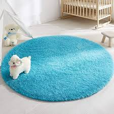 Amazon Com Soft Round Rug For Bedroom 4 X4 Blue Rug For Nursery Room Fluffy Carpet For Kids Room Shaggy Floor Mat For Living Room Furry Area Rug For Baby Teen Room Decor For