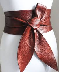 rich brown leather obi belt tulip tie