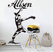 Wall Stickers And Murals Name Baseball Fast Pitch Wall Decal Nursery Girl Room Personalized Name Softball Pitcher Sport Player Wall Sticker Vinyl 75 47cm Wish