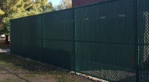 Chain Link With Green Privacy Slats Mills Fence Co