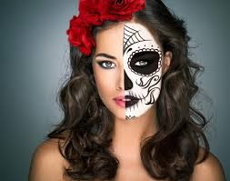 mexican sugar skull makeup half face