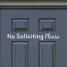 No Soliciting Door Decal Sticker Sign From Trendy Wall Designs