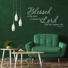 Romans 4 8 Bible Verse Wall Decal Blessed Is The Man Simple Stencil Wall Lettering Wall Decals The Simple Stencil