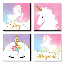 Rainbow Unicorn Kids Room Nursery Decor And Home Decor 11 X 11 Inches Nursery Wall Art Set Of 4 Prints For Baby S Room Bigdotofhappiness Com