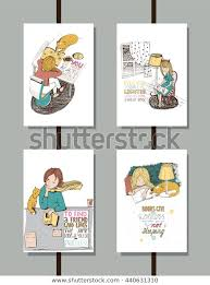 colorful set handdrawn educational lettering illustrations stock