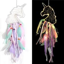 Amazon Com Dream Catcher With Lights Unicorn Dreamcatcher For Kids Girls Bedroom Wall Decor Colorful Wall Hanging Decorations For Baby Room Theme Birthday Wedding Party Supplies Car Ornament Gift Unicorn Furniture Decor