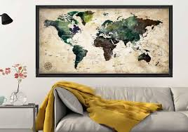 World Map Posterpush Pin Map Posterpush Pin World Mapworld Etsy