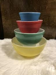 vintage pyrex glass primary colors