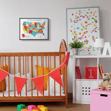 The Kids Room By Stupell 16 In X 20 In Colorful World Map Of Usa Kids Nursery Painting By Farida Zaman Framed Wall Art Brp 2429 Fr 16x20 The Home Depot