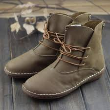 women boots genuine leather shoes brown