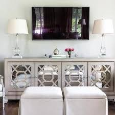 gray mirrored tv cabinet with crystal