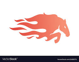 Horse Fire Logo Icon For Branding Car Wrap Decal Vector Image