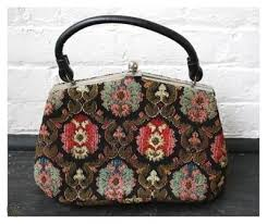 vine 1950s 1960s tapestry carpet bag