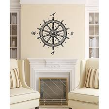 Wall Decals Ship Wheel Nautical Compass Rose Navigate Ship Ocean Sea Wall Vinyl Decal Stickers Bedroom