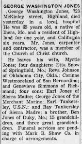 Myrtle Jones Husband's Obit George Washington Jones - Newspapers.com