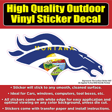 Denver Broncos Montana State Flag Vinyl Car Window Laptop Bumper Stick Colorado Sticker