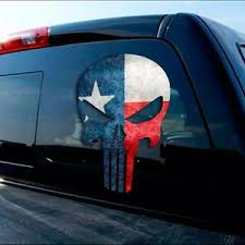 Texas Flag Decal Sticker Punisher Skull Cowboy Dallas Austin Tx Truck Car Window Ebay