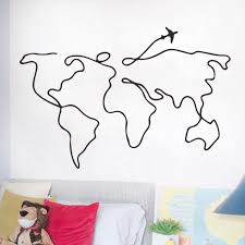 Simple Line Travel World Map Wall Sticker For Bedroom Decorative Removable Vinyl Wall Decal Creative Home Decor Mural New Design Wall Stickers Aliexpress