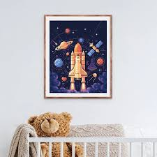 Space Theme Rocket Canvas Painting Kids Boys Room Decor Galaxy Space Planet Stars Wall Art Print Nordic Poster Boys Gift Painting Calligraphy Aliexpress