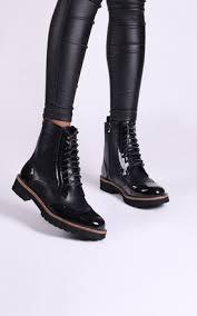 biker boots for women black lace up