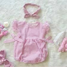 Set đồ bé gái - Body nơ kẻ hồng kèm turban cho bé