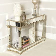 gold mirrored 2 drawer console table