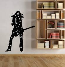 Vinyl Wall Decal Silhouette Girl With Guitar Player Rock Star Stickers Wallstickers4you