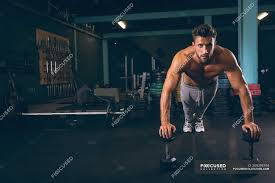 portrait of muscular man doing push up