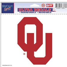 Oklahoma Sooners Ncaa Ultra Decal 5 X 6 Logo Resusable Window Wall Cling Sticker Made In