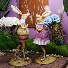 metal rabbit garden statues outdoor