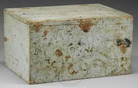 HISTORIC PAINTED LIFT TOP CAMPAIGN DESK OF CAPTAIN A.B. MATHEWS, CO. H, 2ND  MAINE CAVALRY.