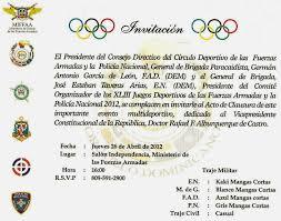 Invitacion A Clausura De Los Xliii Juegos Deportivos De Las