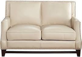 beige leather loveseat