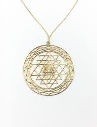 7d sri yantra pendant gold plated