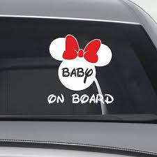Baby On Board With Minnie Window Decal New Baby Gift Baby On Board Sign Baby On Board Label Car Window Decal 332 Window Decals Minnie Stickers New Baby Products