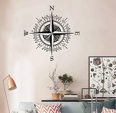 Bibitime Wall Decal Vinyl Sticker Decals Art Decor Design Vintage Compass Rose Nautical Navigate Ship Ocean Sea Vinyl Wall Decals Sea Kids Room Kid Room Decor