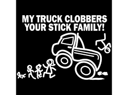 Car Decal Large 8 Inch X 5 5 Inch My Truck Clobbers Your Stick Family Funny Vinyl Big Monster Truck Sticker Compatible With Suv Van Truck Figure Rear Windshield Window Side Funny Family