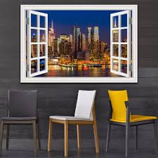 3d Window View Wall Sticker Night City Landscape Sticker Decal Vinyl Wallpaper Home Decor Living Room Removable Wall Graphics Removable Wall Murals From Asenart 10 26 Dhgate Com