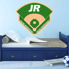 Vwaq Personalized Baseball Field Wall Decal Custom Name Sports Stick