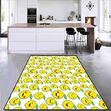 Amazon Com Children Kids Nursery Rugs Floor Carpet Cartoon Lemon Emoticons Circle Rugs For Living Room 4 X6 Kitchen Dining