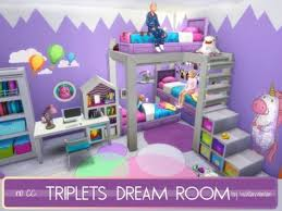 Akisima Sims Blog Triplets Dream Room No Cc Sims 4 Downloads Sims 4 Bedroom Sims 4 Toddler Sims 4