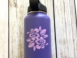 Hibiscus Flower Vinyl Decal Forflask Water Bottle Car Decal Etsy Hydroflask Hydroflask Stickers Flask