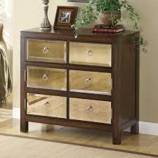 mirror front accent cabinet in walnut
