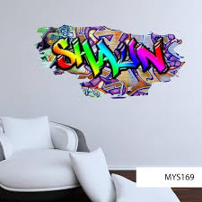 Graffiti Wall Decor Custom Art Decal Cracked Hole Mural My Etsy Personalized Wall Decals Kids Wall Decals Graffiti Wall