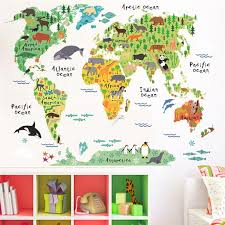 Animals World Map Wall Stickers For Kids Rooms Office Nursery Homedeco Wood Iron Copper Craft