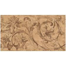 norwall abstract brown damask scrolls
