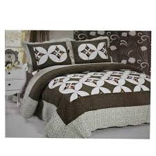 dark green white printed bed set