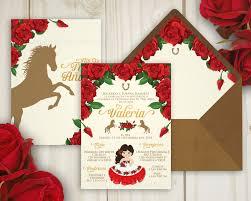 Charro Invitation Hacienda Invitation Red Roses Tres Anos Etsy