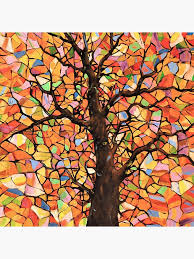 tree stained glass art board print by
