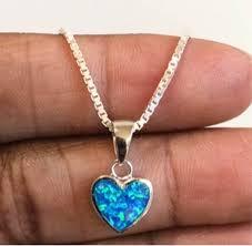 heart necklace blue opal pendant